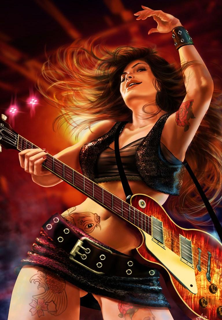 Девушка с гитарой картинки нарисованные, картинки